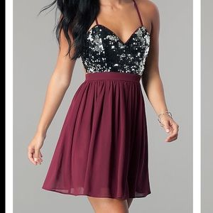 Sequin Maroon Homecoming/Prom Dress